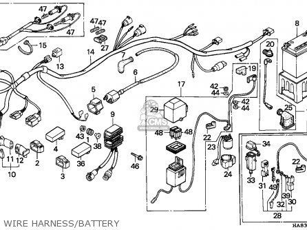 Honda Trx Fourtrax F Canada Wire Harnessbattery Medium F on honda rebel 250 carburetor diagram