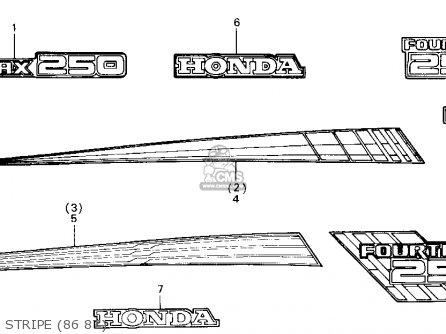 Honda Trx250 Fourtrax 250 1987 h Usa Stripe 86 87