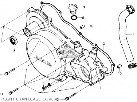 honda trx250r fourtrax 250r 1986 g usa parts lists and schematics  right crankcase cover
