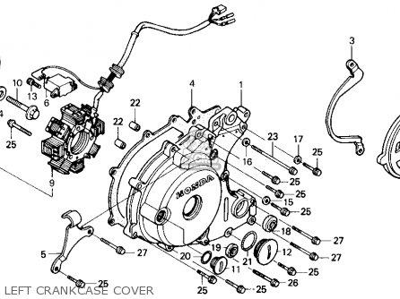 Honda Trx X Fourtrax X H Usa Left Crankcase Cover Mediumhu E B Ef F on 1987 Honda 250x Parts