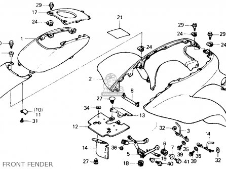 Honda Trx250x Fourtrax 250x 1992 n Usa Front Fender