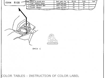 Honda Trx300 Fourtrax 300 1990 l Usa Color Tables - Instruction Of Color Label