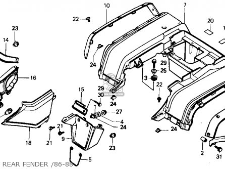 Honda Trx350 Fourtrax 4x4 1986 g Usa Rear Fender  86-88