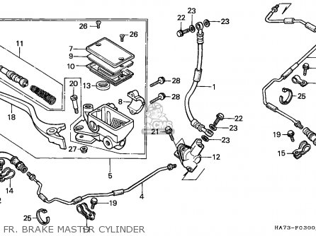 Honda Trx350d Fourtrax 1987 h Italy Sul Fr  Brake Master Cylinder