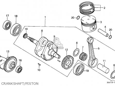 Honda Trx350d Fourtrax 1987   Sul Crankshaft piston