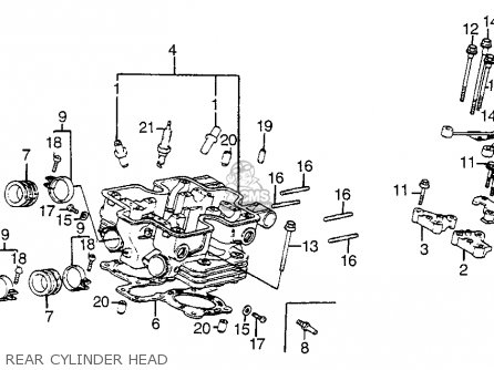 Honda Vf1100s Sabre 1984 e Usa California Rear Cylinder Head