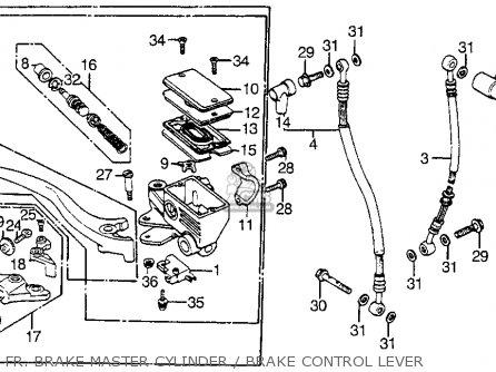 Honda Vf1100s Sabre 1984 e Usa Fr  Brake Master Cylinder   Brake Control Lever