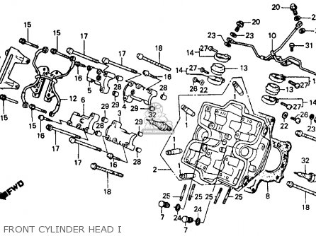 Honda Vf500f 500 Interceptor 1986 g Usa Front Cylinder Head I