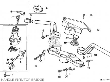 Honda Vfr750f Interceptor 1988 j England   Mkh Handle Pipe top Bridge