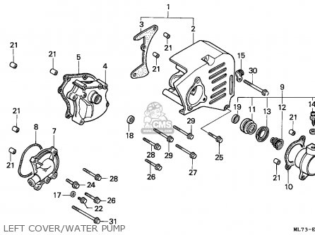 Honda Vfr750f Interceptor 1988 j England   Mkh Left Cover water Pump
