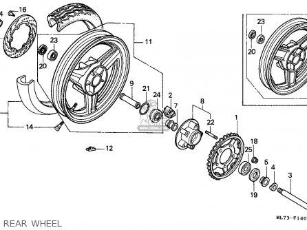 Honda Vfr750f Interceptor 1988 j England   Mkh Rear Wheel