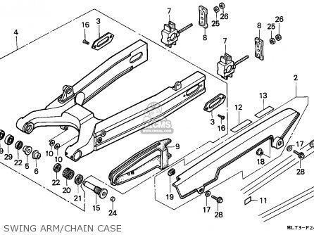 Honda Vfr750f Interceptor 1988 j England   Mkh Swing Arm chain Case