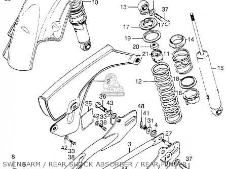 honda xl175 k0 1973 usa parts lists and schematics 1975 Honda XL175 Side Covers swingarm rear shock absorber rear fender