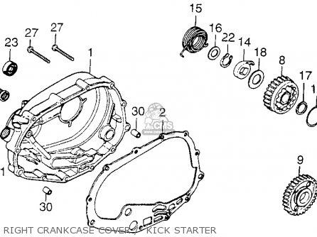 Honda Xl250 Motosport 1976 Usa Right Crankcase Cover    Kick Starter