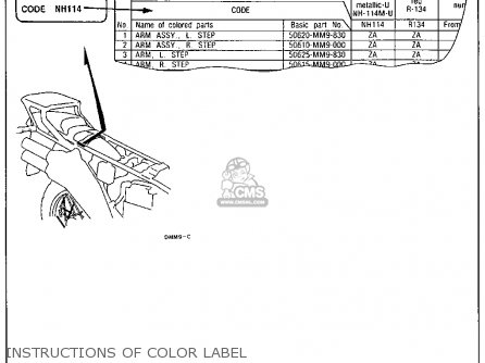Honda Xl600v Transalp 1989 k Usa Instructions Of Color Label