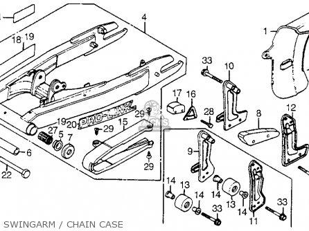 Honda XR200R 1981 (B) USA SWINGARM / CHAIN CASE