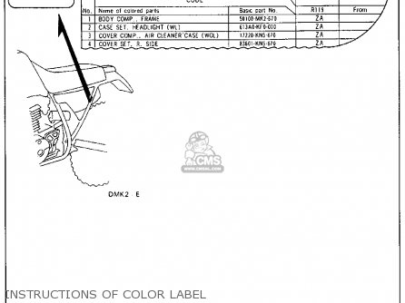 Honda Xr600r 1985 f Usa Instructions Of Color Label
