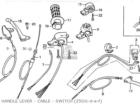 Honda Z50jd Monkey finland Handle Lever - Cable - Switch z50jc-d-e-f