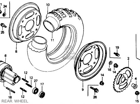 Honda Z50r 1991 m Usa Rear Wheel