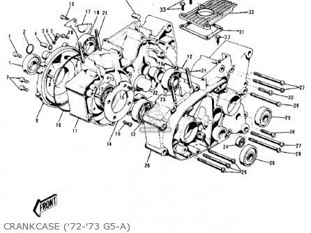 Kawasaki 1974 G5-b Crankcase 72-73 G5-a