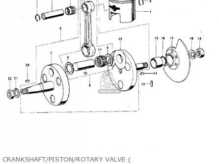 Kawasaki 1974 G5-b Crankshaft piston rotary Valve