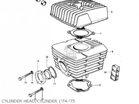 Kawasaki 1974 G5-b Cylinder Head cylinder 74-75