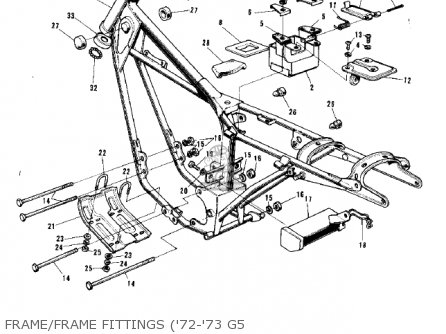 Kawasaki 1974 G5-b Frame frame Fittings 72-73 G5