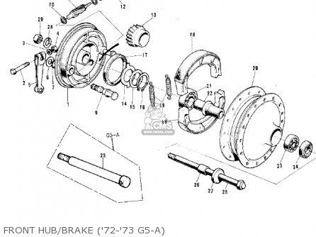 Kawasaki 1974 G5-b Front Hub brake 72-73 G5-a