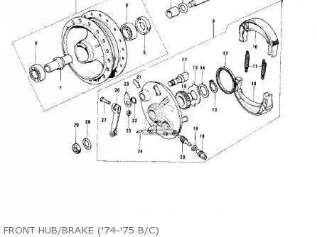 Kawasaki 1974 G5-b Front Hub brake 74-75 B c