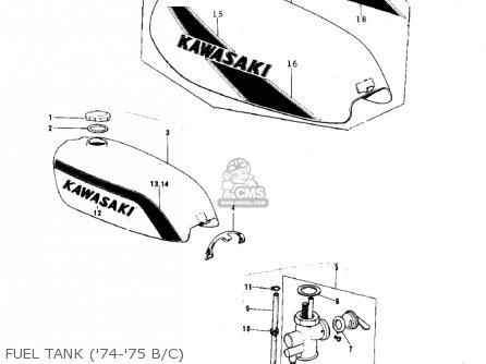 Kawasaki 1974 G5-b Fuel Tank 74-75 B c