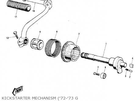 Kawasaki 1974 G5-b Kickstarter Mechanism 72-73 G