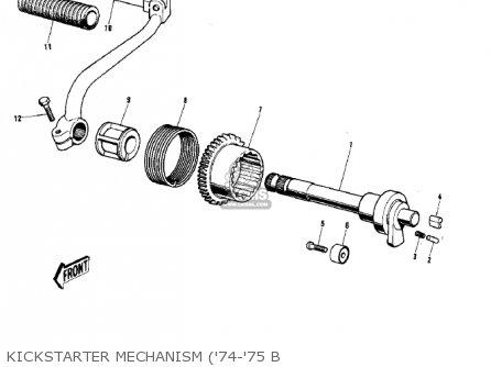 Kawasaki 1974 G5-b Kickstarter Mechanism 74-75 B