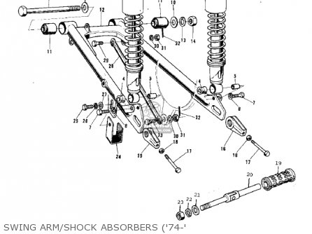 Kawasaki 1974 G5-b Swing Arm shock Absorbers 74-