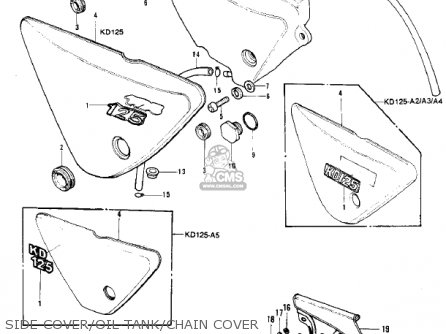Kawasaki 1976 Kd125-a2 Side Cover oil Tank chain Cover