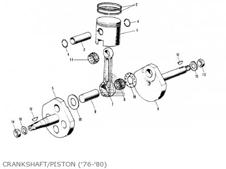 Kawasaki 1976 Kv75-a5 Crankshaft piston 76-80