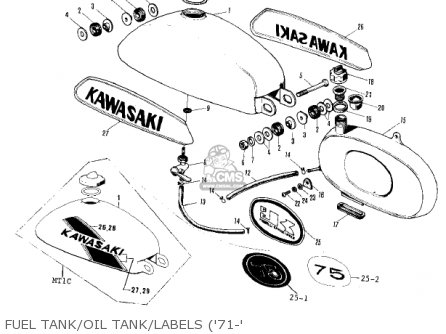 Kawasaki 1976 Kv75-a5 Fuel Tank oil Tank labels 71-