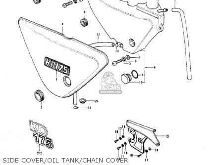 Kawasaki 1978 Kd175-a3 Side Cover oil Tank chain Cover