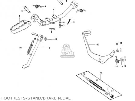 Kawasaki 1979 Kd100-m4 Footrests stand brake Pedal