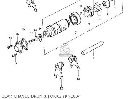 Kawasaki 1979 Km100-a4 Gear Change Drum  Forks km100-