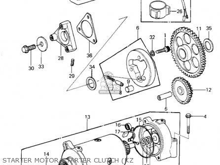 Kawasaki 1981 Kz1300-a3 Starter Motor starter Clutch kz