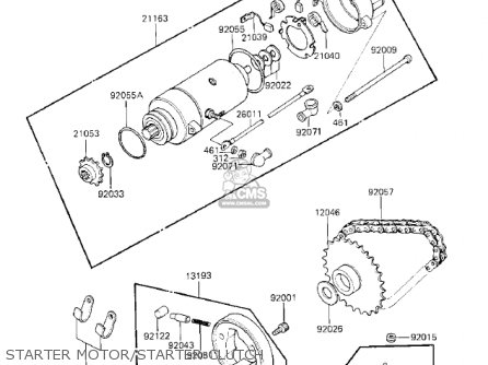 Kawasaki 1983 Kz750-k1 Ltd Belt Starter Motor starter Clutch