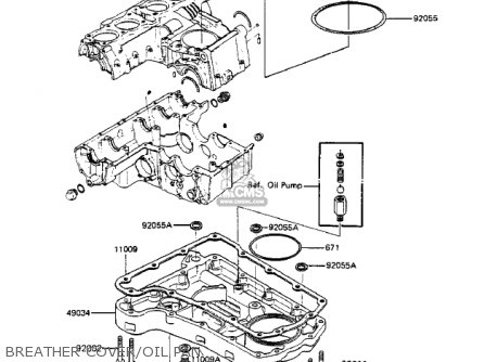 Kawasaki 1984 Zx750-a2 Gpz 750 Breather Cover oil Pan