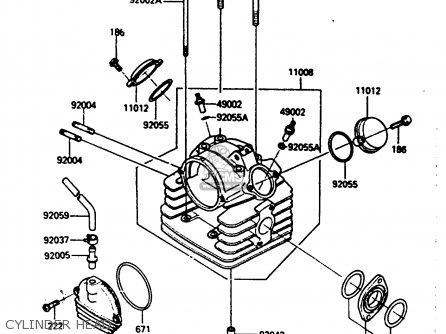 Kawasaki 1985 A1  Klf185 Cylinder Head