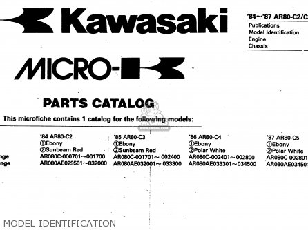 Kawasaki 1987 C5  Ar80 Model Identification