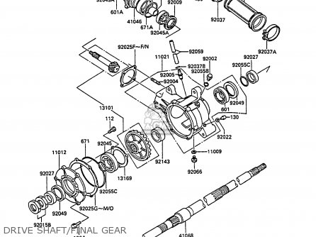 Kawasaki 1988 A4  Klf185 Drive Shaft final Gear
