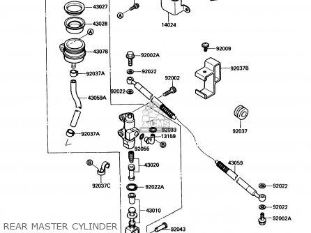 Kawasaki 1989 A3  Kl650 north America Rear Master Cylinder