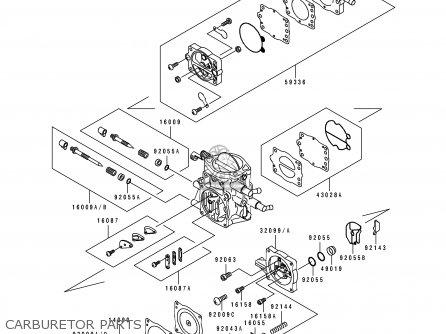 Kawasaki 1995 B3  Jh750 north America Carburetor Parts