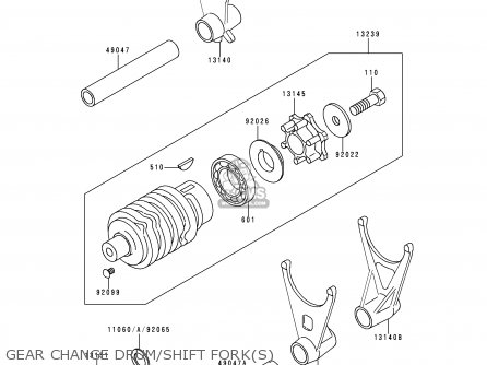 Kawasaki 1995 E3  Zx600 Gear Change Drum shift Forks