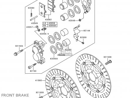 Kawasaki 1995 E3  Zx600 north America Front Brake
