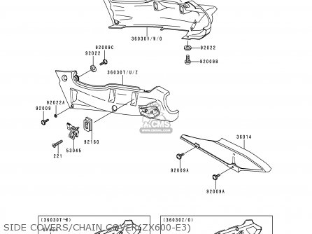 Kawasaki 1995 E3  Zx600 north America Side Covers chain Coverzx600-e3